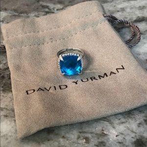 David Yurman 14mm Chatelaine Blue Topaz Ring